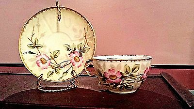 Antique Fine China Mustache Cup W/Underplate HP Wild Rose Decoration