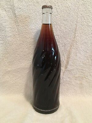 RARE FULL 26oz UNMARKED ERROR PEPSI-COLA SWIRL SODA BOTTLE