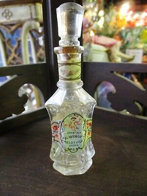 Antique 1898 Victorian French Melot Et Cie Glass Perfume Bottle Label Heliotrope