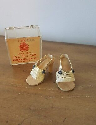 Vintage 1950's Madame Alexander Cissy Doll Shoes White Lace Heels in BOX