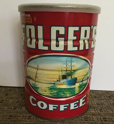 Vintage metal Folger's Coffee can with lid 1980