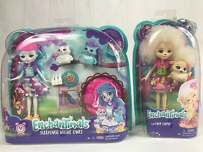 Enchantimals Sleepover Night Owl Dolls & Playset- lorna lamb         LOT OF 2