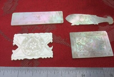 4 X Various Chinese Mother Pearl Gaming Counters Nice Mix