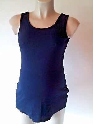 Next Maternity Navy Blue Ribbed Vest Camisole Top Size 14