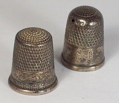 ☞ Two (2) Antique Victorian STERLING SILVER THIMBLES ~ as-is