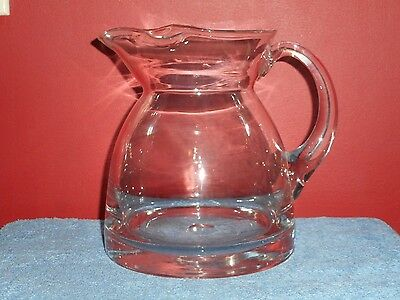 Glass Table Pitcher Handcrafted Original Heavy Blown Glass English Toby Jug 5Lbs