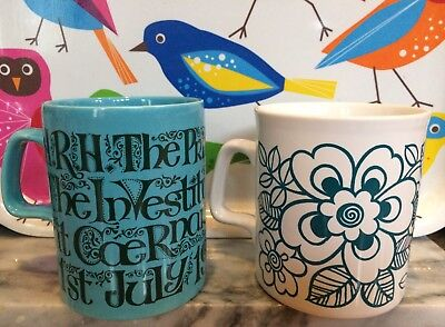 Two funky vintage mugs, Staffordshire Potteries, 1960s/70s turquoise & teal blue
