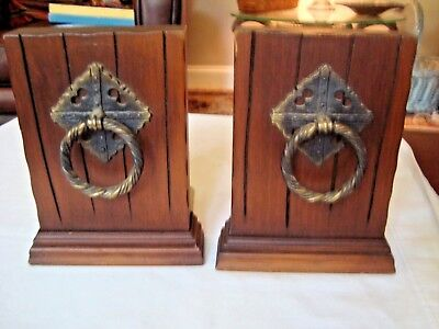 Mid-Century Walnut Wood  Bookends Vintage Antique Brass Rings