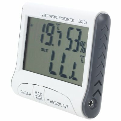 LCD Digital Thermometer Hygrometer Moisture Meter and Wired Temperature wit B9H3