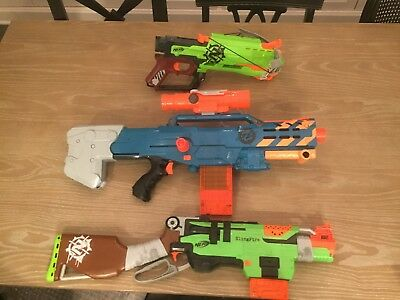 Lot of 3 Nerf Zombie Strike Guns: Sling Fire, Long Shot and the Cross Bow25