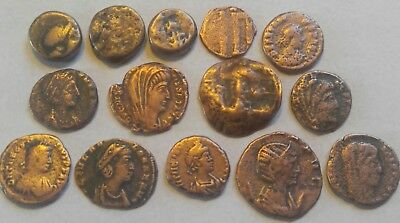 Great Mix Lot Of 14 Authentic Ancient Greek Medieval Byzantine And Roman Coins