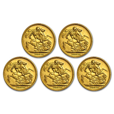 SPECIAL PRICE! Great Britain Gold Sovereign Avg Circ (Random) Lot of 5