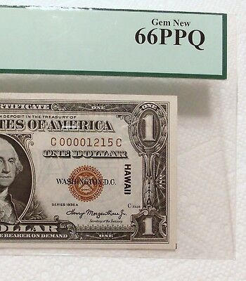 1935A Hawaii $1 PCGS Gem New 66 PPQ Fr. 2300 Silver Certificate CC Block Low S/N