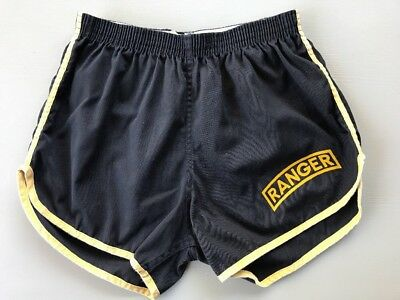 Vintage Army Ranger Physical Training PT Gym Athletic Shorts Black Yellow Piping
