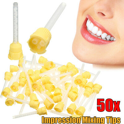 50Pcs 70mm Disposable Dental Impression Mixing Tip 4.2mm Silicone Rubber 1:1