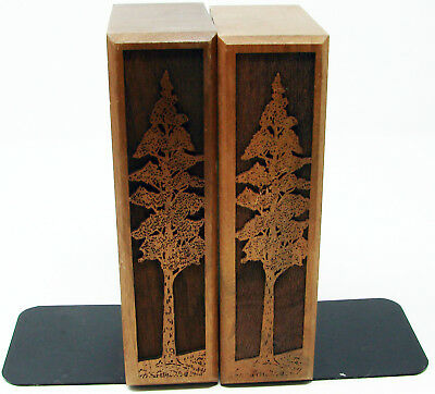 Set Vintage 1977 Lasercraft Walnut Bookends With Laser Engraved Redwood Trees