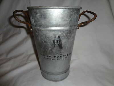 Hush Puppies Shoes Adertising Store Container Vase Can Metal Tag Brand