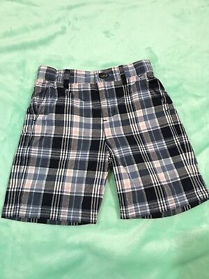 Janie and Jack Boys Blue Plaid Shorts Size 18-24 Mo Adjustable Waist. V13