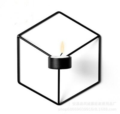 [EL] 3d Geometric Candlestick Metal Wall Candle Holder Lampstand Nordic Style