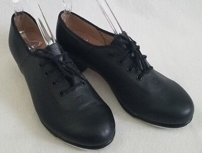 "BLOCH Tap Shoes Black Leather Dance Womens Size 7M 7 and 9 1/8"" Long"