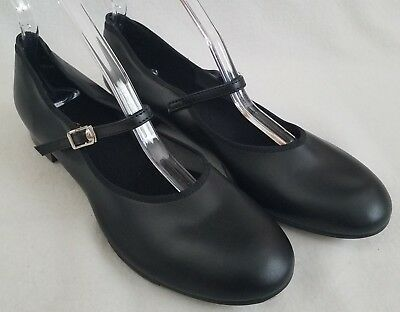 """THEATRICALS Tap Shoes Black Mary Jane Dance Womens Size 9M 9 and 10.5"""" Long"""
