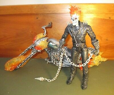 "2007 Marvel Legends 12"" Ultimate Ghost Rider Figure Flame Cycle Complete ToyBiz"
