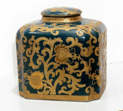 Vintage Chinese Asian Tea Caddy Storage Jar & Lid Rich Green & Gold Gilt Design