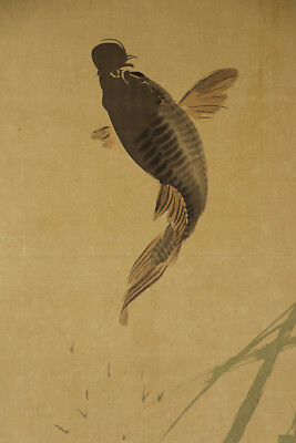 """JAPANESE HANGING SCROLL ART Painting """"Jumping Carp"""" Asian antique  #E2911"""