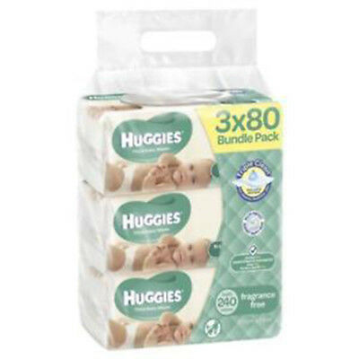 NEW Huggies Wipes Unscented 3 x 80 Pack X2