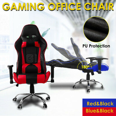 2018 Racing Office Chair Seat Executive Computer Gaming PU Leather Deluxe Style