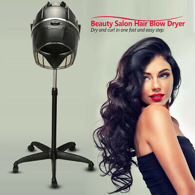 Hearty Beauty Salon Standing Hair Blow Dryer Bonnet Hood Rolling Base Stand Up Hair Dryer Timer Heat Adjustable Temperature Us Plug Beauty & Health