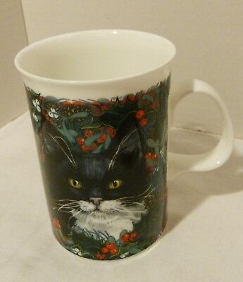 "Dunoon Fine Bone China Mug ""Christmas Cats"" Exclusive Design Made in England"