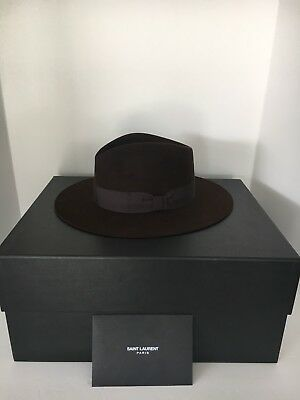 8fc5ae0adb1 SAINT LAURENT FENDORA BOWIE Hat Rabbit Hair Dark Brown Fits 59/61 ...