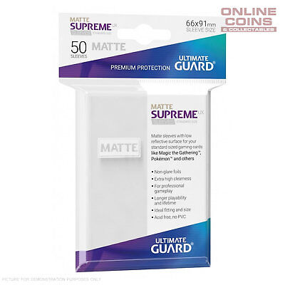 Ultimate Guard SUPREME UX MATTE Standard Card Sleeves - WHITE - Pack of 50