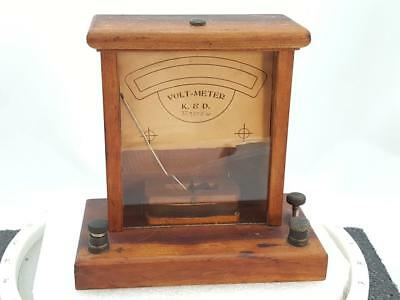 K & D Wood Volt Meter C. ~1900.  Working