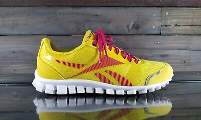 012efa71058b5f Reebok Womens Sz 8.5 US Running Training Athletic Shoes Yellow Lace Up  Sneakers