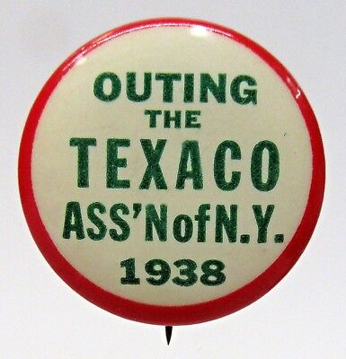 1938 TEXACO ASS'N OF NEW YORK OUTING gasoline oil pinback button ^