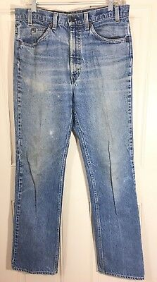 Men's Levis 34 x 34 Vintage Medium Wash Orange Tab Small e Distressed