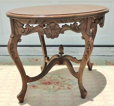 "Antique/Vtg 26"" Hand Carved Wood Flowers Oval Side End Accent Console Table 4734"