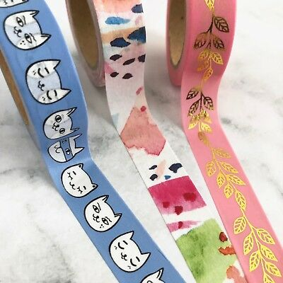 Washi Tape Blue Kitty Cat Gilded Leaf Watermelon Crush 15mm x 10m