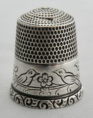 Antique Simons Bros Brothers Sterling Silver Love Birds Thimble Sz 10