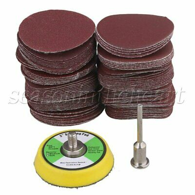 100 Pcs 2'' Sanding Discs Pads 60-2000 Grit Hook & Loop Sandpaper & Thread Shank