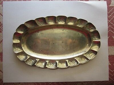 Antique Sanborns Mexico Sterling Oval Tray - Animals