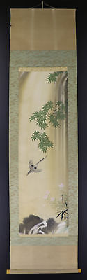 """JAPANESE HANGING SCROLL ART Painting """"Bird and Waterfall"""" Asian antique  #E2763"""