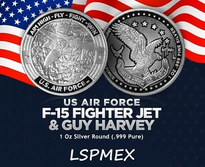 Guy Harvey Series US Air Force F-15 Fighter Jet 1 oz Silver USA Made BU Round