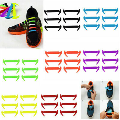 12 Piece 100% Silicone Easy No Tie Elastic Shoe Laces Trainers Shoes Adult Kids