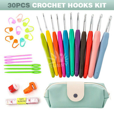30pcs Crochet Hooks Set with Case Ergonomic Soft Handles Aluminum Blunt Needles