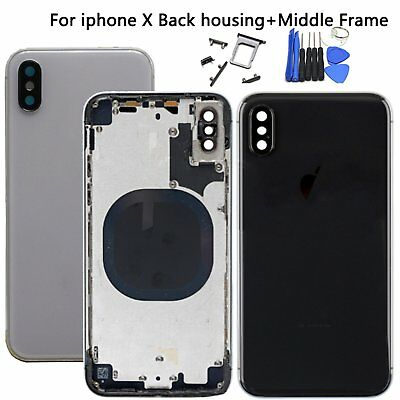 Back Glass Door Battery Cover Metal Mid Frame Housing Replacement for iPhone X