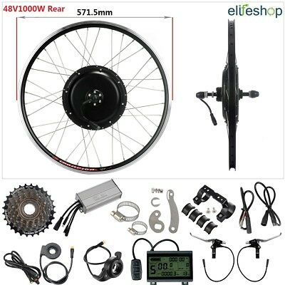 "Retrofit Kit 48V1000W 26"" Rear Motor Cassette E-Bike Hub Conversion Kit Black"