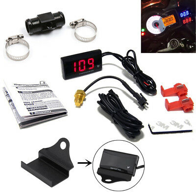 Red Digital Motorcycle Water Temperature Gauge Meter Kit +18mm Connector + Mount